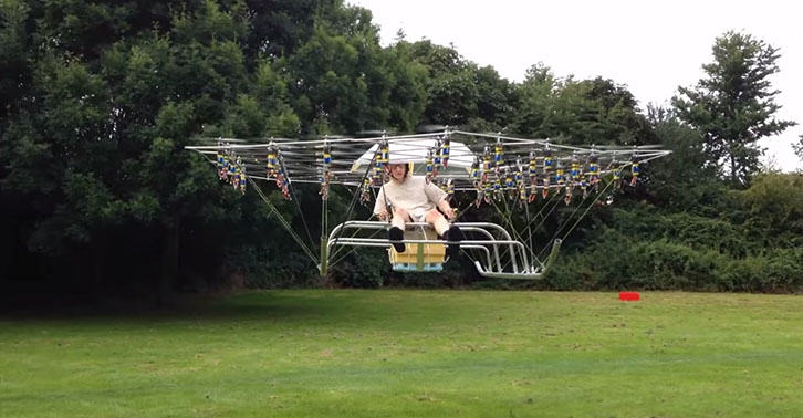 Homemade Helicopter Powered By 54 Miniature Drones