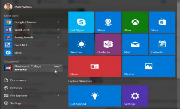 Windows 10 Start Menu- Microsoft's Chosen Platform for Displaying Online Ads