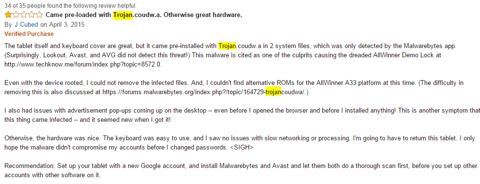 Amazon review screenshot / Image Source: Cmcm.com