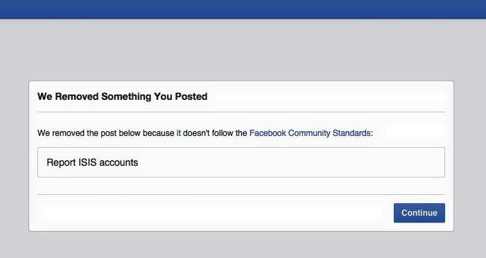 Screenshot shows Facebook removed Report ISIS accounts group / Image Source: Counter Current News