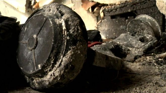 A Hoverboard burned to ashes