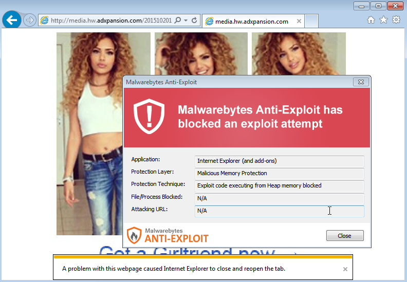 Screenshot shows Adxpansion ads are infected / Image Source: Malwarebytes
