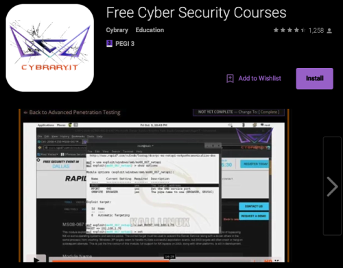 """Screenshot of """"Cybrary"""" cyber security app / Image Source: Google Play Store"""