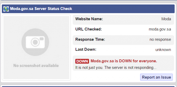The website service status checker shows the Saudi Ministry of Defense website is down