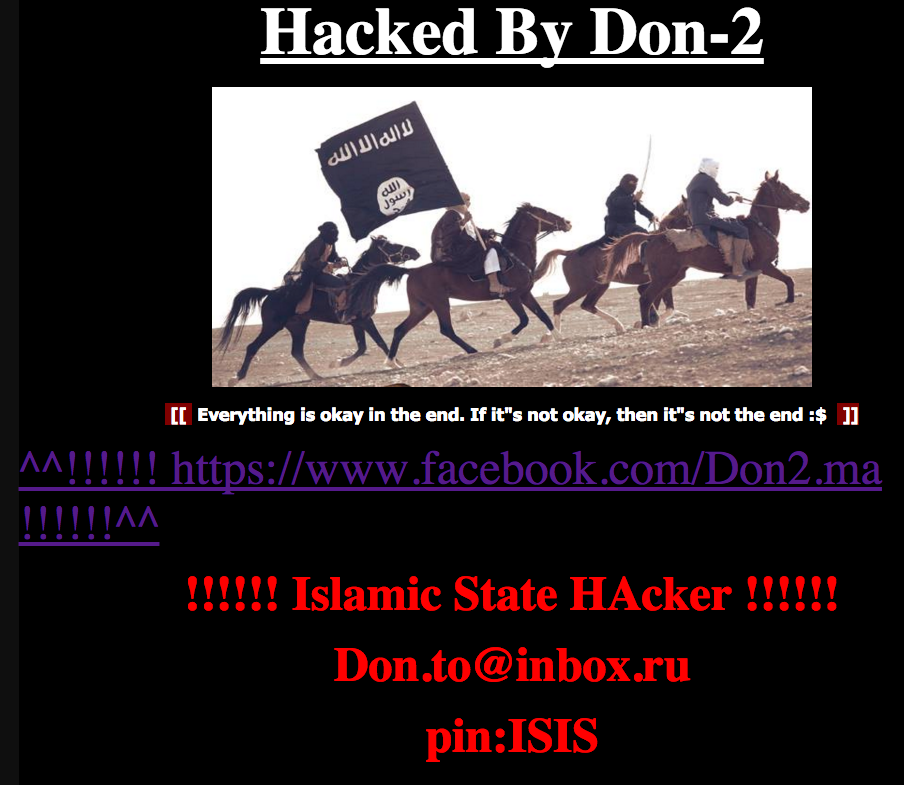 Deface page uploaded by the hacker