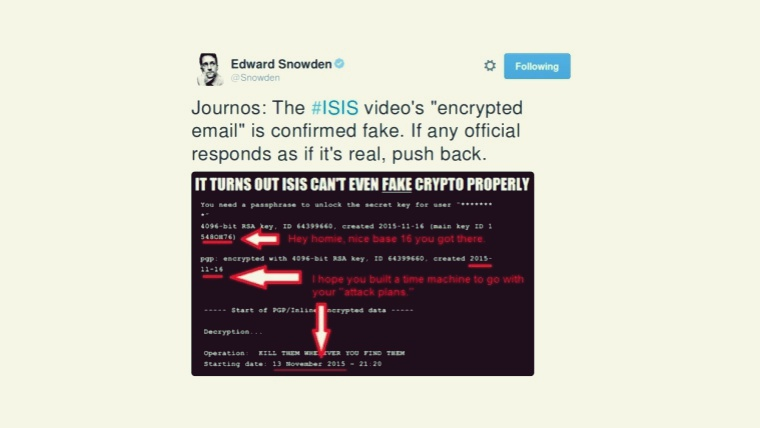 ISIS's Much Hyped Paris Attacks Video Deemed Fake by Edward Snowden