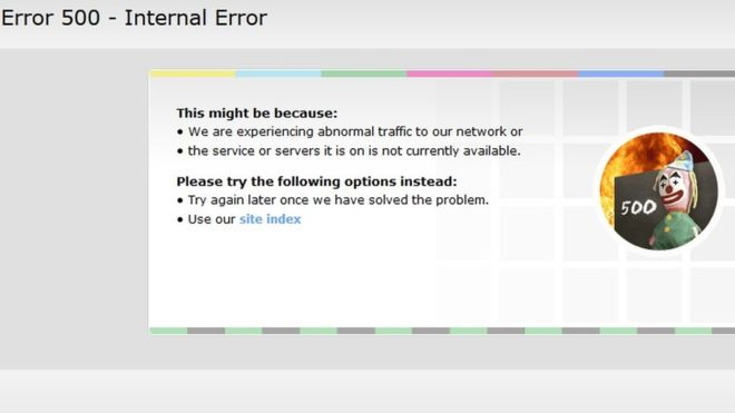 Screenshot from BBC website showing Internal error after the DDoS attack / Image Source: BBC