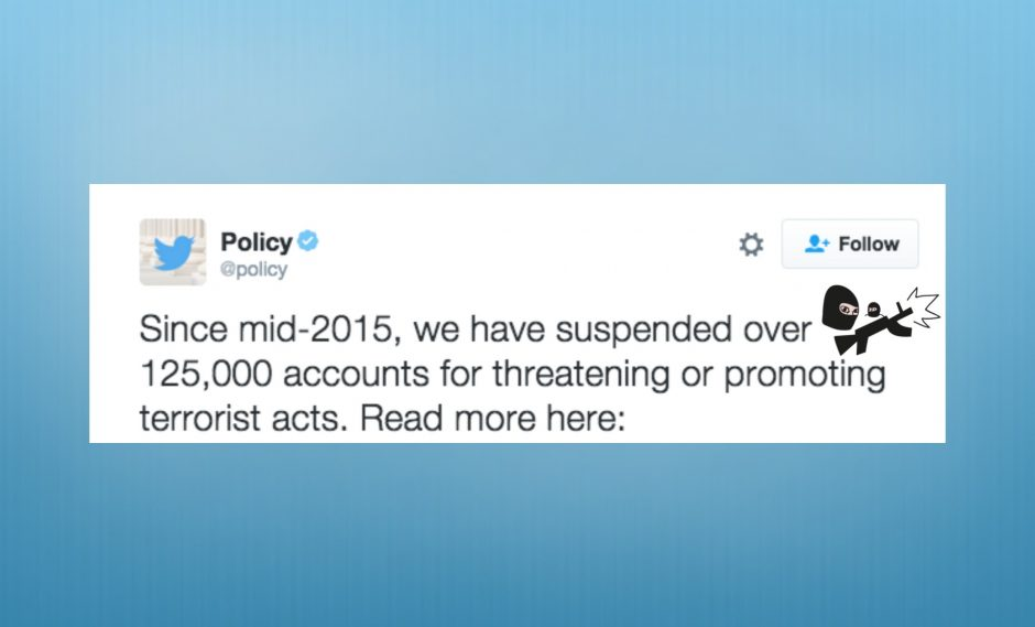 Twitter suspends 125,000 accounts for promoting terrorist acts