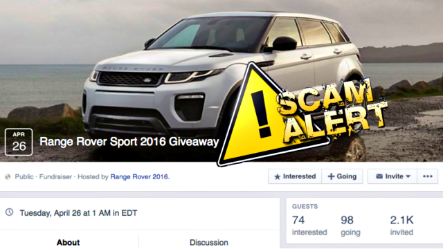Sorry Folks Range Rover Sport 2016 Give Away is a Facebook Scam