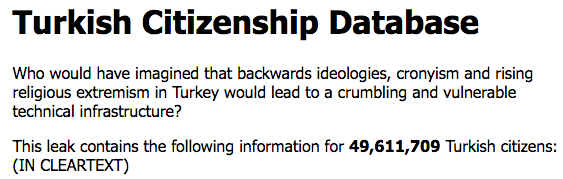 Someone Has Hacked and Leaked Entire Turkish Citizenship Database Online