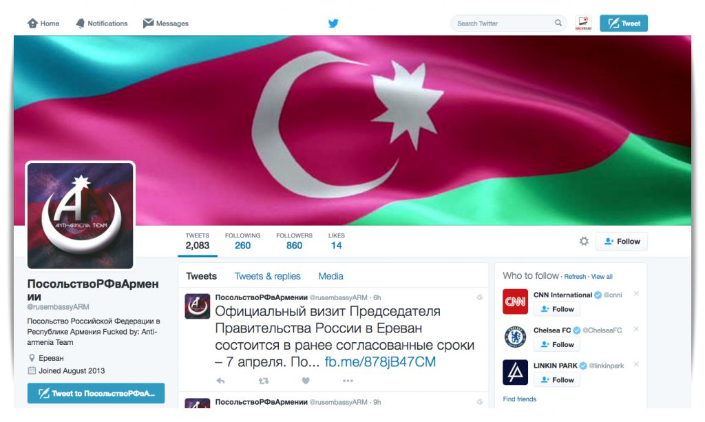 azerbaijani-hackers-hack-twitter-account-russian-embassy-armenia