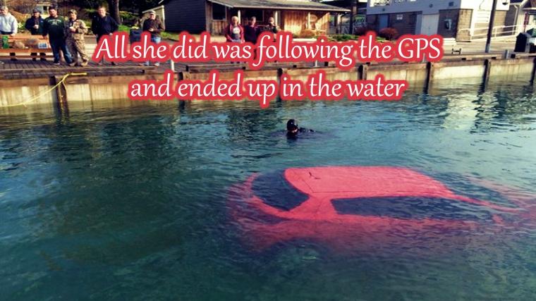 Woman Follows GPS, Goes Straight into Lake