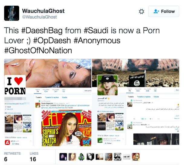 Anonymous Linked Hacker Hijacks ISIS Supporters' Twitter Accounts and Replaces Profile Pictures with Porn!