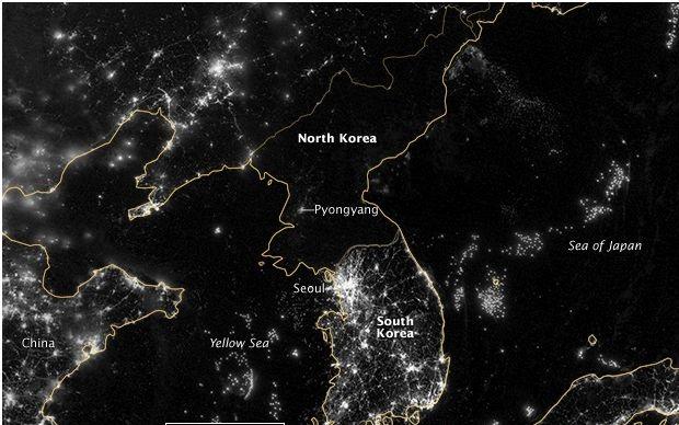 North Korea at night (Courtesy of NASA)