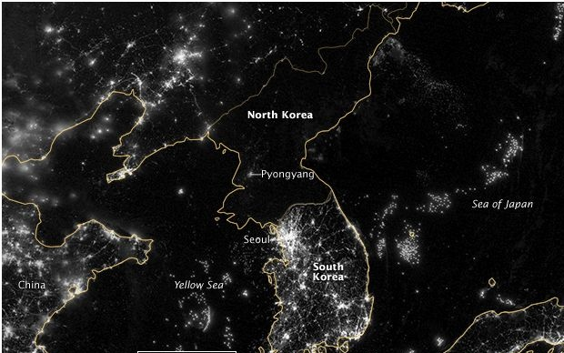 North Korea at night (Courtesy of NASA)
