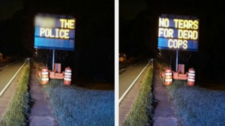 Someone Hacked Road Sign in US to Display Harsh Anti-Police Messages
