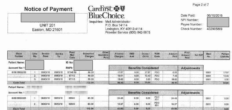 Payment details screenshot