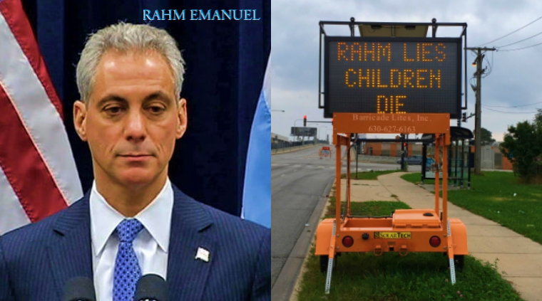 Construction Sign Hacked with Message for Chicago Mayor 'Rahm Lies, Children Die'