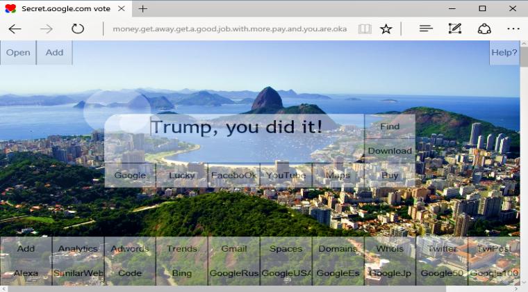 It's Google.com not ɢoogle.com; beware of the pro-Trump spam domain
