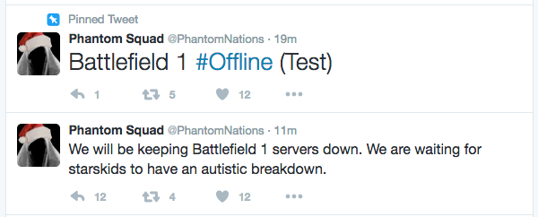 DDoS Attack by Phantom Squad: EA, Battlefield 1 servers go down