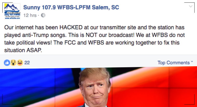 Another Radio Station Transmission hacked with F*** Donald Trump Songs