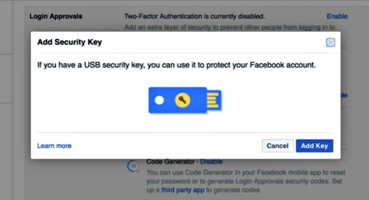 """Facebook Launches """"Security Key"""" Feature to Protect User Accounts"""