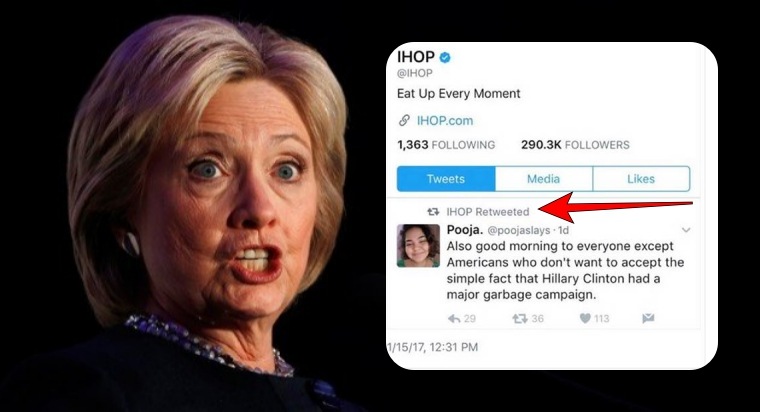 IHOP's Twitter account hacked; retweets a tweet against Hillary Clinton