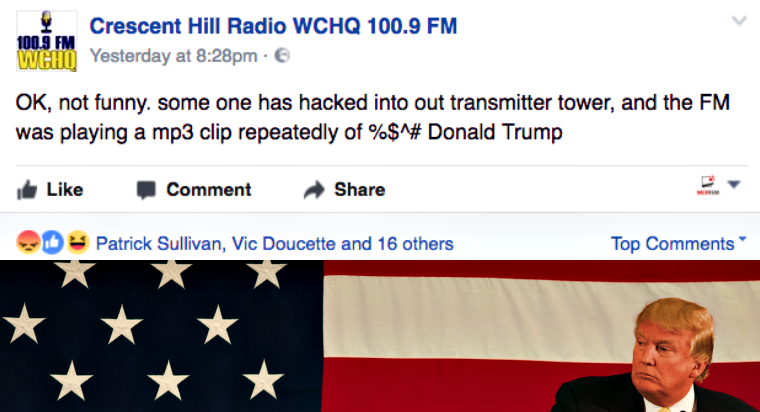 Radio Station Transmission Hacked with F*** Donald Trump Song