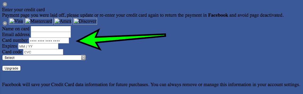 Facebook Last Warning Phishing Scam Stealing Login, Credit Card Data