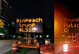 "Someone hacked a road sign in Houston with ""Impeach Trump"" Message"