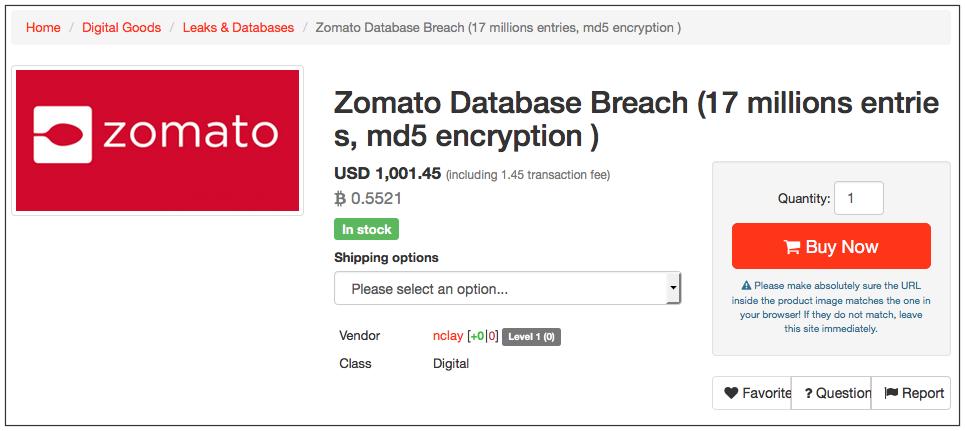 Popular restaurant search company Zomato Hacked, 17 Million Accounts Sold on Dark Web