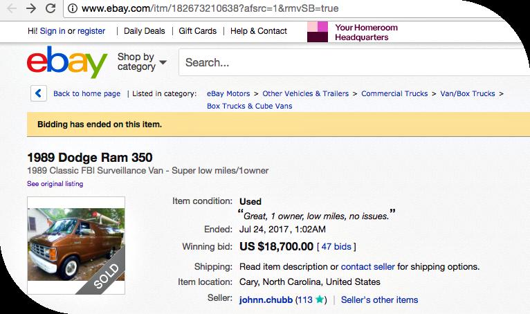 Fbi S Surveillance Van Sold On Ebay For Us 18 700
