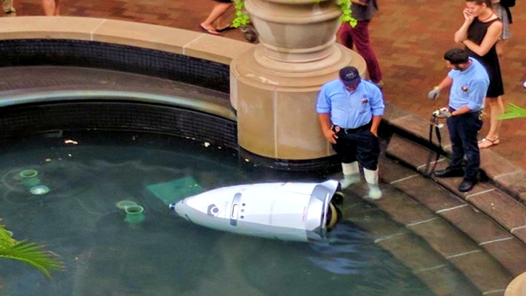 "Security Robot Found Found ""Drowned"" inside a fountain"