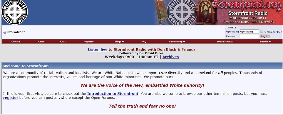 Insanely Popular White Supremacist Website Stormfront Taken Down