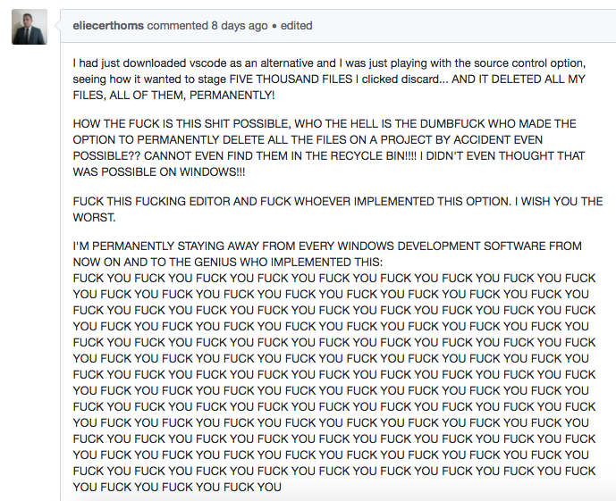 Developer permanently deletestrove of work files with Visual Studio Code