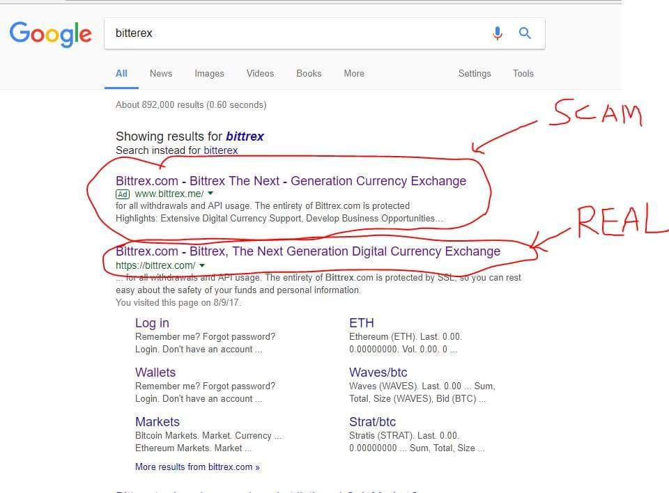 Fake Bittrex cryptocurrency exchange site stealing user funds