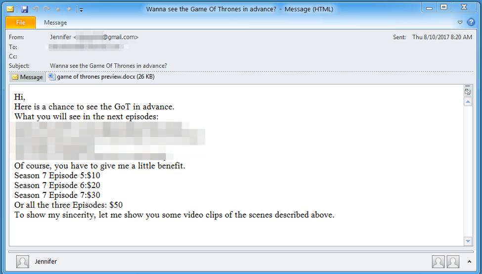 Beware; Game of Thrones Spoilers Email Installs Malware