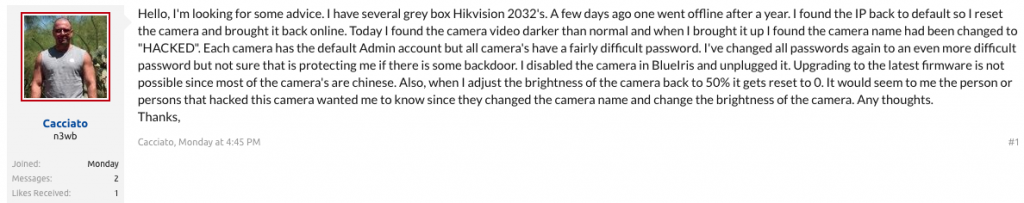 "Hikvision Security Cams Compromised to Display ""HACKED"""