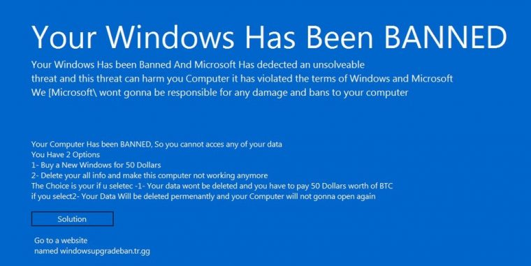 """Your Windows has Been Banned"" Malware Returns with Higher Ransom Demand"