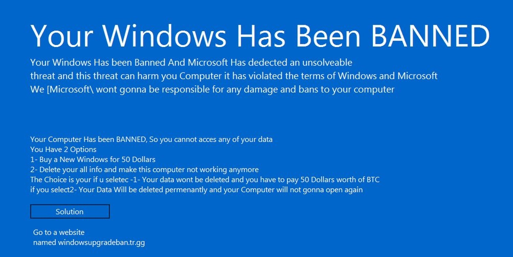 """""""Your Windows has Been Banned"""" Malware Re-emerges with Higher Ransom Demand"""