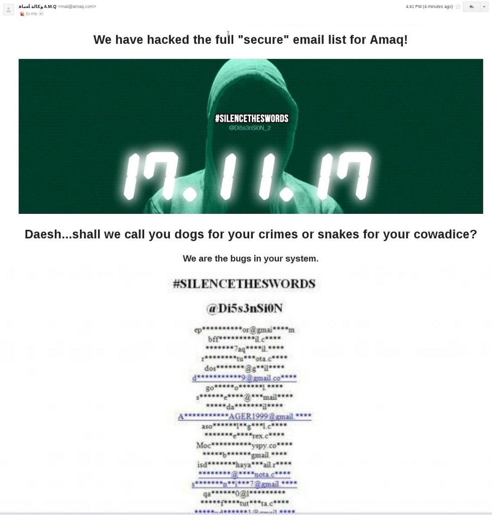 Muslim hackers expose subscribers list by hacking ISIS website