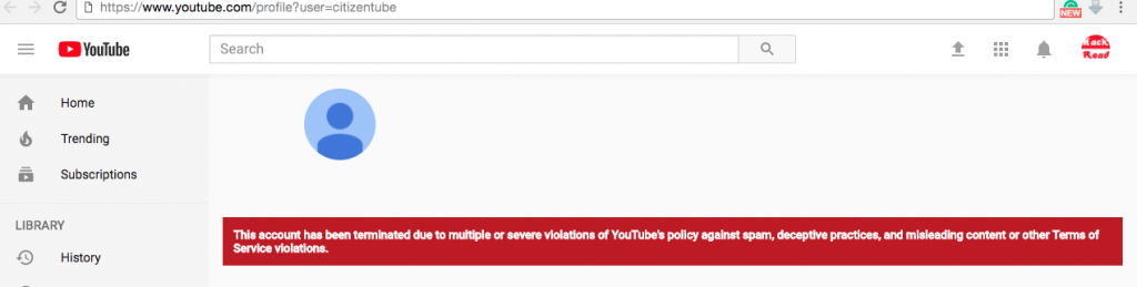 """YouTube terminatesits own channel """"Citizentube""""for """"multiple or severe"""" violations"""