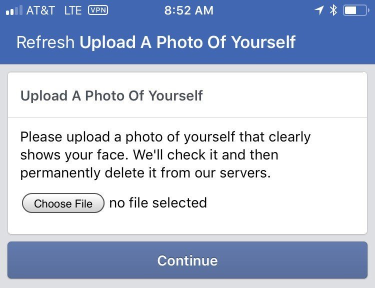 Facebook new captcha wants users to upload a clear photo of them