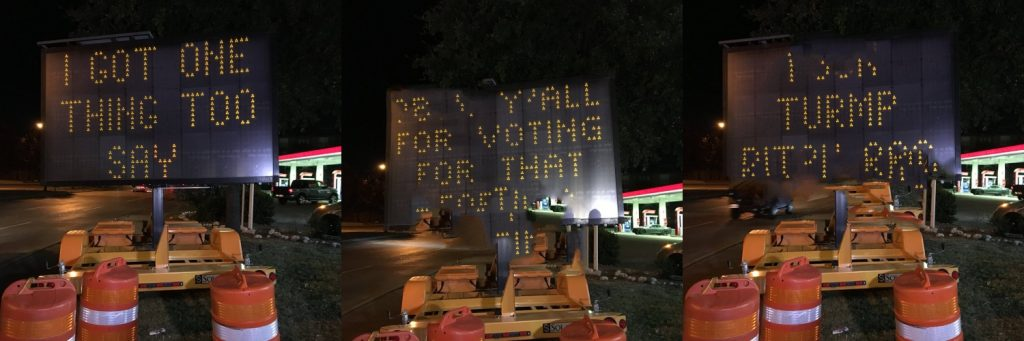Someone hacked this traffic sign with anti-Trump message