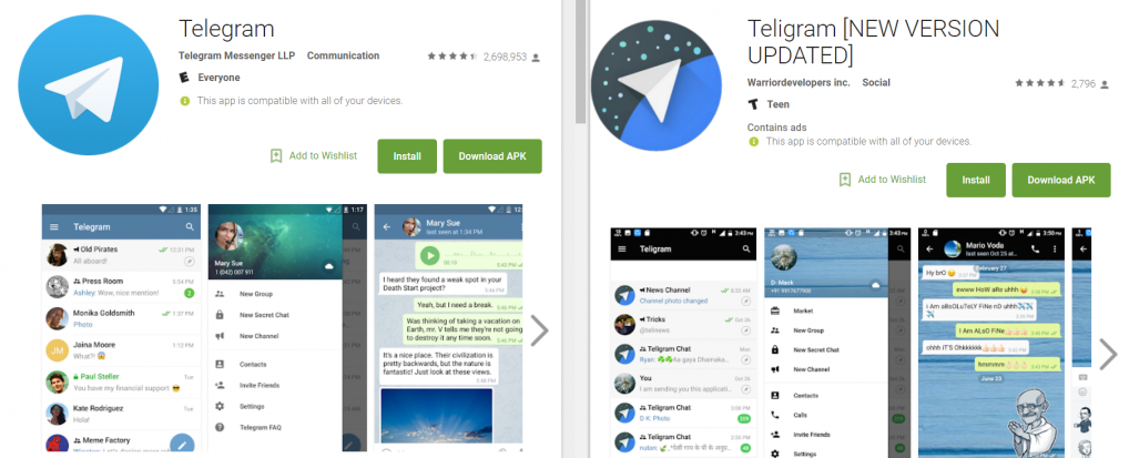 Malware infected fake Telegram Messenger app found on Play Store