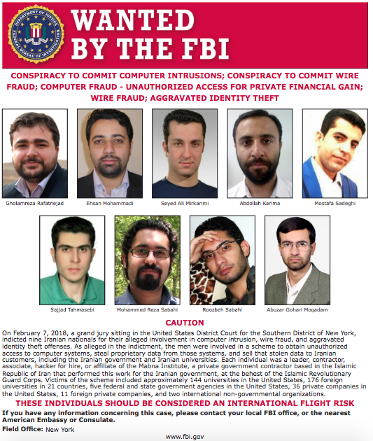 US Charge 9 Iranian Hackers for Hacking Companies & Stealing Secrets
