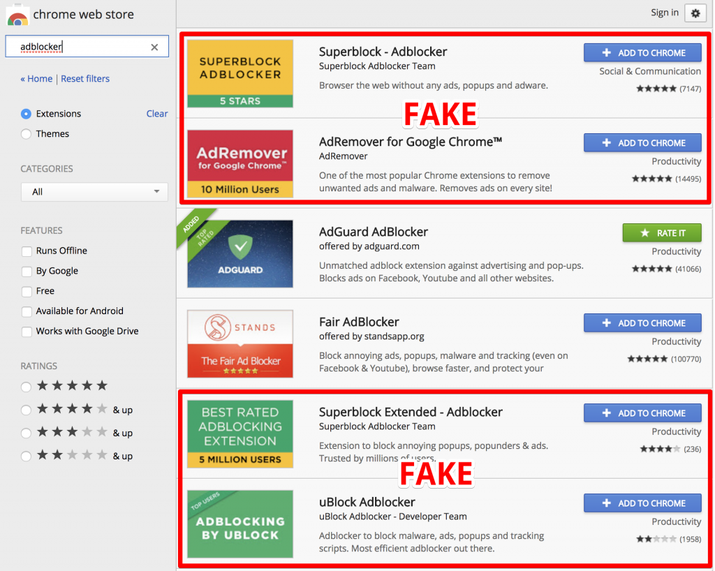 Over 20 million Chrome users have installed fake malicious Ad Blockers