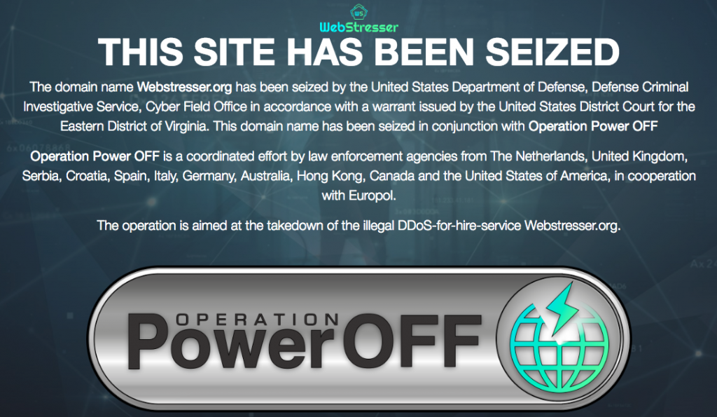 Authorities bust World's largest DDoS-for-hire service & seizes its domain