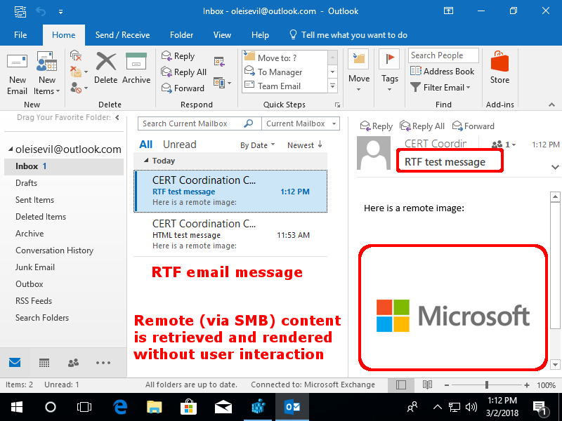 Microsoft Outlook bug expose your Windows credentials to hackers